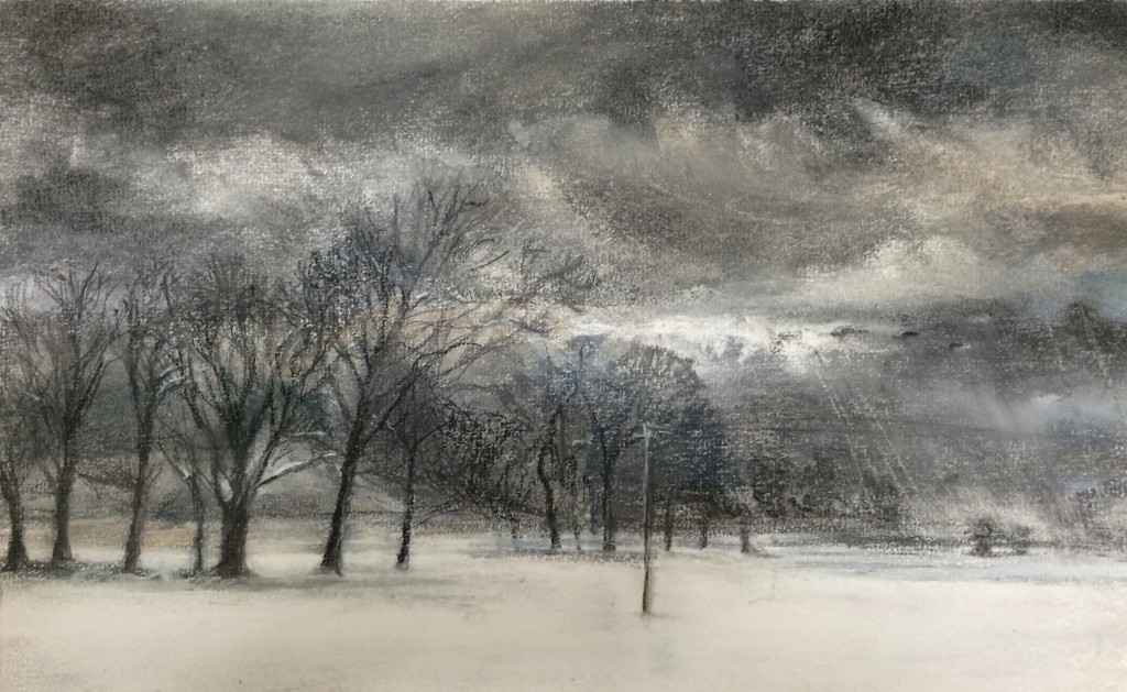 Telegraph, Trees and Snow Sketch, pastel, (42 x 52 cm )