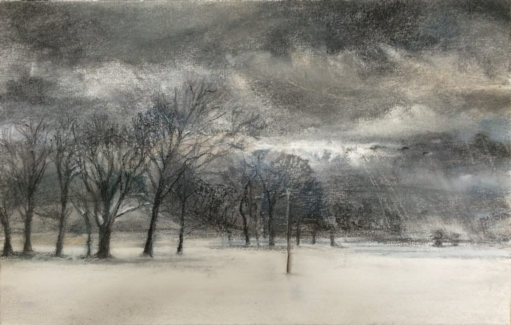 Telegraph Pole and Trees in Snow 42 x 52 cms