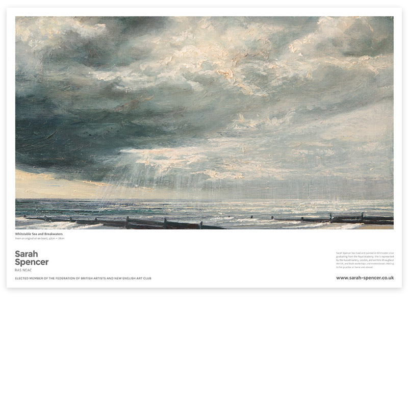 Whitstable Sea and Breakwaters Fine Art Poster
